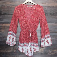 reverse - indie border print front wrap romper in red - shophearts - 1
