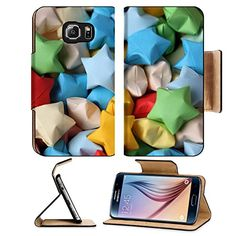 MSD Premium Samsung Galaxy S6 Edge Flip Pu Leather Wallet Case IMAGE ID 35232104 Colorful origami lucky stars Close up >>> Want additional info? Click on the image.
