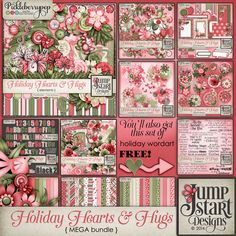 Holiday Hearts & Hugs ~ MEGA Bundle plus FWP ~ by Jumpstart Designs. Now available at 57% off at Pickleberrypop.  Also available in separate packs at 50%-55% off until Dec. 1