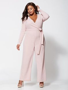 Plus Size Bobbi Tie-Front Jumpsuit - Fashion To Figure Plus Size Jumpsuit, Plus Size Maxi Dresses, Plus Size Outfits, Grey Fashion, Urban Fashion, Womens Fashion, Chic Outfits, Fashion Outfits, Fashion Ideas
