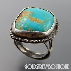 NATIVE AMERICAN VINTAGE STERLING SILVER GORGEOUS AMERICAN TURQUOISE THICK SHANK RING SIZE 10