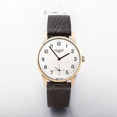 Longiness 9ct Gold Gents Watch with Silver Dial