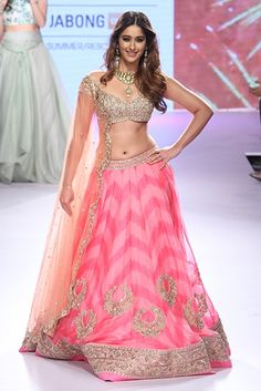 Bollywood actress Ileana D'Cruz showcases a creation by designer Anushree Reddy on Day 5 of the Lakme Fashion Week (LFW) Summer Resort held in Mumbai. (BCCL/Tejas Kudtarkar) LFW Day Anushree Reddy Photogallery at ETimes Bridal Lehenga, Lehenga Choli, Anarkali, Pink Lehenga, Floral Lehenga, Bollywood Lehenga, Lehnga Dress, Sari, Lehenga Designs