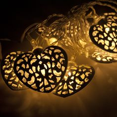 Noma Battery Operated Metal Filligree Heart Garland With 10 Warm White Indoor Multi Effect LED's With Timer On Clear Cable