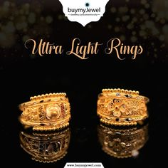 Don't wait for it. Select from our illuminating range of Ultra Light Rings. Indian Gold Necklace Designs, Gold Mangalsutra Designs, Gold Ring Designs, Gold Bangles Design, Gold Earrings Designs, Gold Jewelry Simple, Gold Rings Jewelry, Hand Jewelry, Gold Jewellery