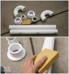 sanding PVC pipe - lighted candy cane tutorial