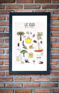 Cette affiche format poster est un concentré de bonnes choses que l'on peut trouver dans le Sud de la France, où le ciel est bleu lavande et où il fait bon vivre.