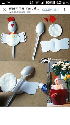 Making chicken out of plastic spoons - DIY projects for children for Easter - DIY - Basteln mit Kindern - Welcome Crafts Kids Crafts, Preschool Crafts, Easter Crafts, Projects For Kids, Diy For Kids, Diy And Crafts, Craft Projects, Craft Ideas, Recycled Crafts