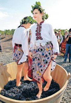 Болгарские девушки топчут виноградные лозы в соответствии с древнейшей винодельческой техникой.