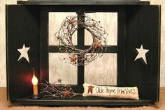 primitive star patterns for wood cut out | Primitive Shutter Window - Black | Shop home, interior_design ...