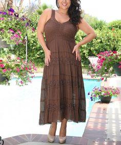 Loving this Brown Flower Eyelet Sleeveless Dress - Plus on #zulily! #zulilyfinds