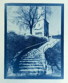 """""""Curved Steps, Wasserturm, Berlin"""" by Brian Young. Cyanotype."""