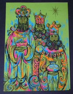 VINTAGE 1960s Mod Christmas greeting card. Wisemen, Three Kings, Magi. PINK ORANGE BLUE •