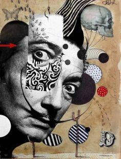 "Collage, ""hello dali"" art is part of Dada art - Dada Collage, Collage Kunst, Art Du Collage, Collage Portrait, Collage Artists, Art Inspo, Kunst Inspo, Inspiration Art, Dadaism Art"