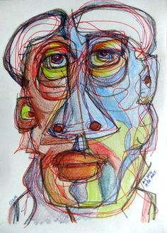 ARTFINDER: Baboon by Steve Clement-Large - Colourful visage - a bit baggy about the eyes. Pencil and ink on paper - ideal for a clip-frame or a snap frame.