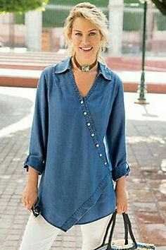 Soft Surroundings Washed Tencel® Tunic have 2 versions this. like with baroque pearls Tunic Shirt, Shirt Blouses, Tunic Tops, Shirts, Denim Tunic, Pulls, Dress Patterns, Blouse Designs, Denim Kurti Designs