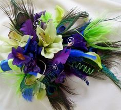 Peacock Bridal Bouquet Wedding flower Package Royal by AmoreBride