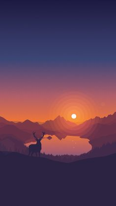 Lakeside Sunset Wallpaper by Louis Coyle on Inspirationde Illustration Main, Digital Illustration, Sunset Background, Aesthetic Wallpapers, Wallpaper Backgrounds, Sunset Wallpaper, Iphone Wallpapers, Pixel Art, Concept Art