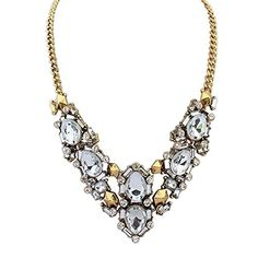 Vintage Brass Colorful Rhinestone Clear Crystal Neclace for Women Bridesmaid Bride Wife Girlfriend