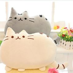 Cute Cat Pillow Kawaii Soft Cushion Plush Toy Teddy Home Sofa Decoration 2 Color