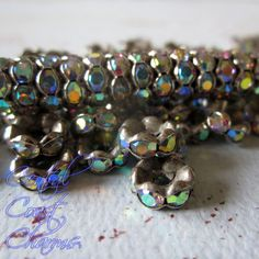 8 mm Aged Silver Czech AB Rhinestone Rondelle Spacers - Vintage Style - Aurora Borealis