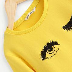 Yellow Eye and Eyelash Print Cute Sweatshirts Snow Fashion, Fashion Top, Cute Sweatshirts, Yellow Eyes, Sweater And Shorts, Sweater Fashion, Cool Kids, Pullover Sweaters, Fashion Brands
