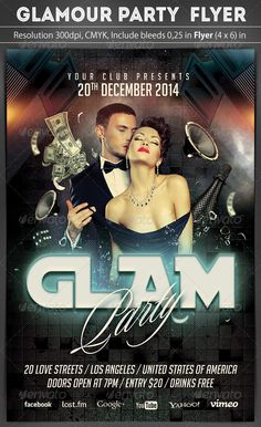 Buy Glamour Party Flyer Template by grapulo on GraphicRiver. Perfect, high quality flyer template, for your music party. Glamour Party, Thanks My Friend, Neon Nights, Free Facebook, Music Party, Information Graphics, Party Flyer, Print Templates, Dance Dresses