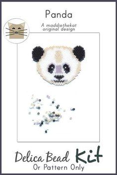 Panda Bear Brick Stitch Seed Bead Pattern PDF or KIT DIY