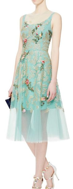 Oscar de la Renta Embroidered Tulle Dress