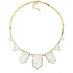House of Harlow 1960 Jewelry White Sand Five Station Necklace ($75) ❤ liked on Polyvore