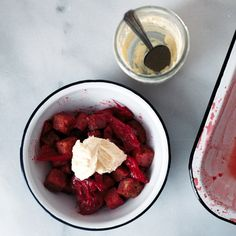 Roasted Strawberry Rhubarb Brioche Panzanella // autumn makes and does