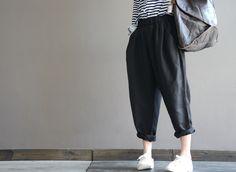 Black Linen elastic waist loose turnip pants  #handmade #blacklinen #linen #linenpants #turnippants
