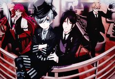 Black Butler Book of Atlantic from left to right :Grell Sutcliff , Ciel Phantomhive , Sebastian Michaelis and Ronald Knox gif.
