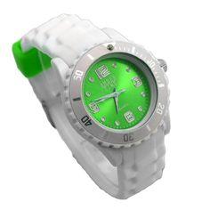New Style Silikon Armbanduhr in knalligen Farben! - Amber Time Analog Uhr - Hellgrün / Weiß - http://uhr.haus/amber-time-3/new-style-silikon-armbanduhr-in-knalligen-farben-2