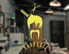 . Rótulo en vinilo de corte adhesivo para barberías Barbería hipster 04397