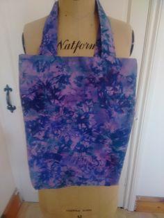 Purple batic fabric lined tote bag