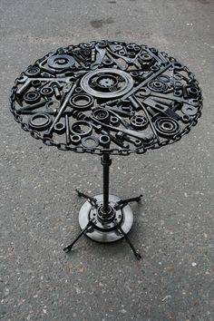 Metal Art Coffee Table Made From Old Car Parts And Gears