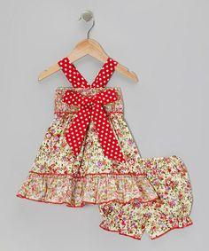 Floral Polka Dot Bow Dress & Bloomers - Infant #zulilyfinds