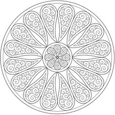 Paisley mandala coloring page sample, Dover Publications #doodle #pattern