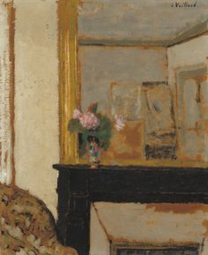 "Edouard Vuillard painted Vase of Flowers on a Mantelpiece in around 1900.  The National Gallery writes that Vuillard painted ""provocative paintings of middle-class interiors."" This interior is tightly focused around a single vase, in a smooth and geometric contrast to the previous decade's profusion of objects.  Besides those flashes of pink, green, and blue, the piece has a remarkably unified color scheme, setting the vase apart even as the flatness of the work integrates it into its…"