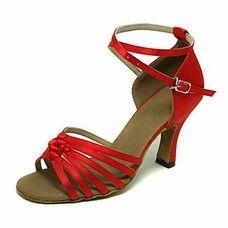 Red satin latin dance shoes Salsa