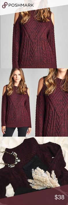 Burgundy Cold Shoulder Sweater About: Burgundy/Black blended material. Cable knit sweater with cut outs on shoulders. Quality, thick knit, very warm and cozy!   Material: Acrylic  *Will Consider All Offers - Use offer button please!  *No Trades *Bundle & Save Nadia Rima Sweaters