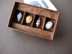 Letters to you - matchbox art; tiny shells - by Kaija: paperiaarre (Etsy)