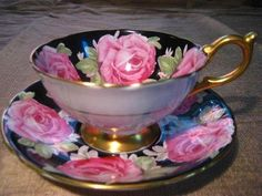 Aynsley HUGE PINK CABBAGE ROSE on BLACK GOLD 50s ATHENS Tea Cup Saucer