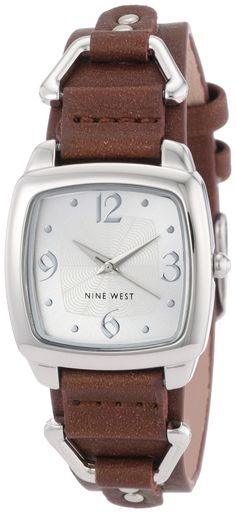 Nine West Women's NW1171SVBN Silver-Tone Square Dial and Brown Strap Watch, (watches, casual watch, leather banded, trendy, womens, fossil womens, nine west, nine west watches)