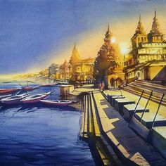 Day for Night Artwork Watercolor Paintings For Beginners, Watercolor Landscape Paintings, Watercolor Artwork, Fairy Photography, Spiritual Paintings, Krishna Painting, Indian Art Paintings, Moon Painting, Aesthetic Painting