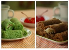 Indonesian dessert: Dadar Gulung (rolled pandan pancakes with sweet coconut filling)