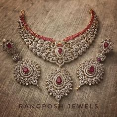 gold plated bridal set in American diamonds and sterling silver frame. Set includes necklace earrings and tikka. Indian Jewelry Sets, Indian Wedding Jewelry, Bridal Jewellery, India Jewelry, Jewellery Shops, Jewellery Box, Bridesmaid Jewelry Sets, Wedding Jewelry Sets, Wedding Bands
