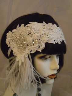 1920s Bridal Headpiece Flapper Headpiece Bride Wedding