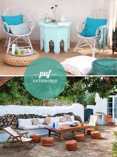 Ideas de decoración con puf. De colores, para colocar en exteriores o en casas de estilo nórdico, ¡todos nos encantan!